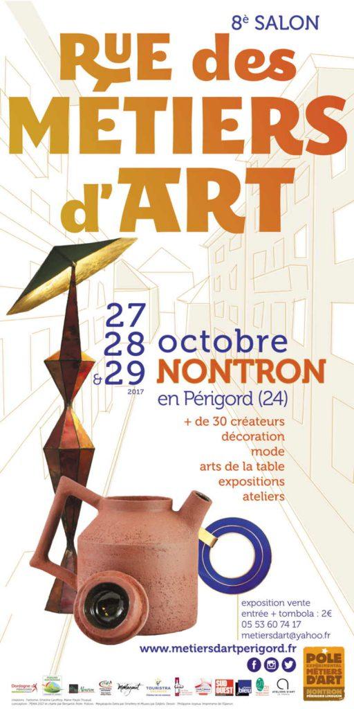 Affiche de Rue des Métiers d'Art - salon métiers d'art à Nontron - 27, 28 et 29 octobre 2017