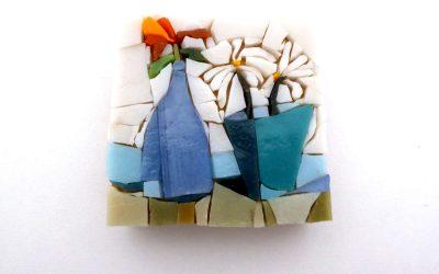 Mosaïque murale «Bouquets» en pâte de verre